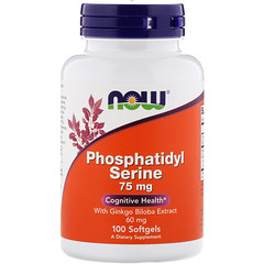 Now Foods, Phosphatidyl Serine with Ginkgo Biloba Extract, 75 mg, 100 Softgels