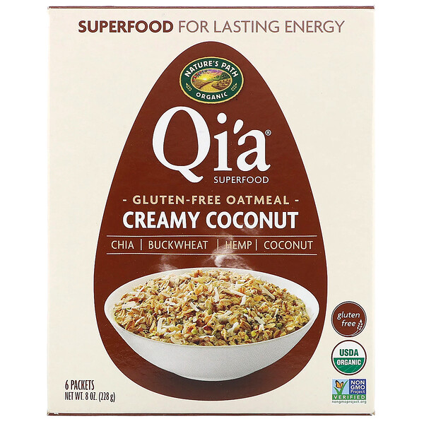 Qi'a Superfood Oatmeal, Creamy Coconut, 6 Packets, 8 oz (228 g)
