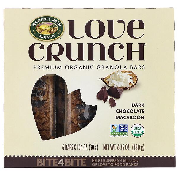 Nature's Path, Love Crunch, Premium Organic Granola Bars, Dark Chocolate Macaroon, 6 Bars, 1.06 oz (30 g) Each