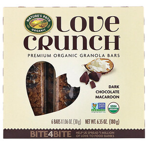 Натурес Пат, Love Crunch, Premium Organic Granola Bars, Dark Chocolate Macaroon, 6 Bars, 1.06 oz (30 g) Each отзывы
