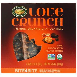 Nature's Path, Love Crunch, Premium Organic Granola Bars, Dark Chocolate Peanut Butter, 6 Bars, 1.06 oz (30 g) Each