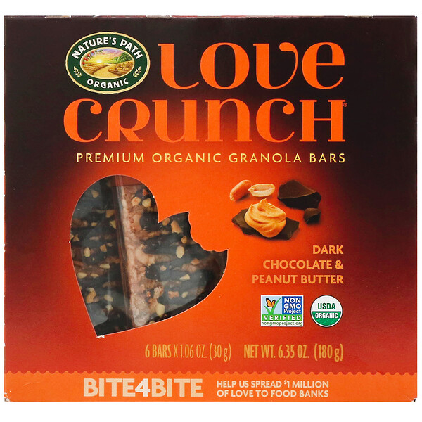 Love Crunch, Premium Organic Granola Bars, Dark Chocolate Peanut Butter, 6 Bars, 1.06 oz (30 g) Each