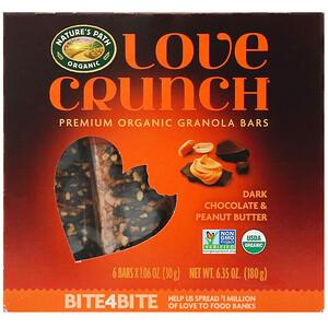 Натурес Пат, Love Crunch, Premium Organic Granola Bars, Dark Chocolate Peanut Butter, 6 Bars, 1.06 oz (30 g) Each отзывы покупателей