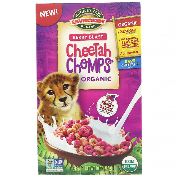 Nature's Path, EnviroKidz, Organic Berry Blast Cheetah Chomps, 10 oz (284 g)