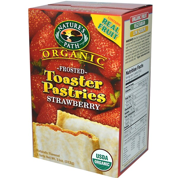 Nature's Path, Organic Frosted Toaster Pastries, Strawberry, 6 Tarts, 52 g Each (Discontinued Item)