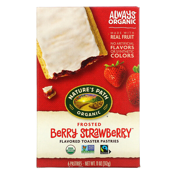Organic Flavored Toaster Pastries, Frosted Berry Strawberry, 6 Pastries, 11 oz (312 g)