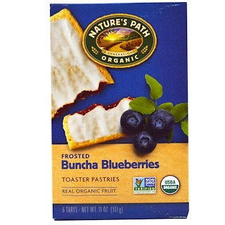 Nature's Path, Organic Frosted Toaster Pastries, Buncha Blueberries, 6 Tarts, 52 g Each