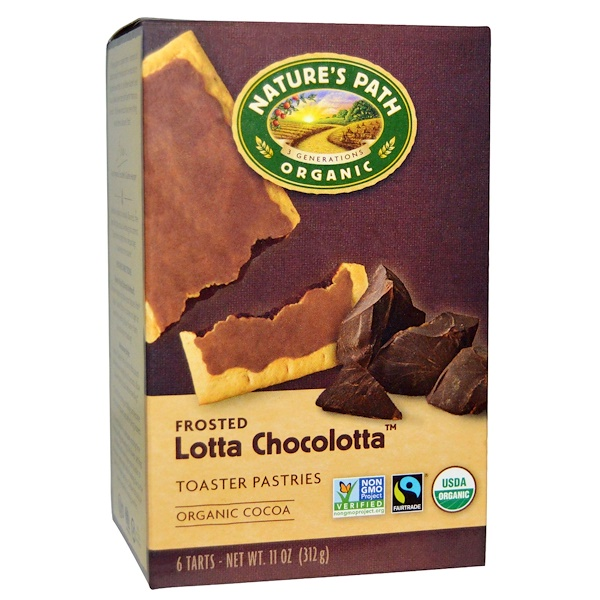 Nature's Path, Organic Toasted Pastries, Frosted Lotta Chocolotta, 6 Tarts, 11 oz (312 g)