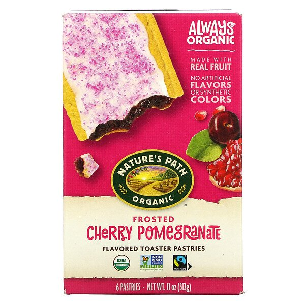 Organic Flavored Toaster Pastries, Frosted Cherry Pomegranate, 6 Pastries, 11 oz (312 g)