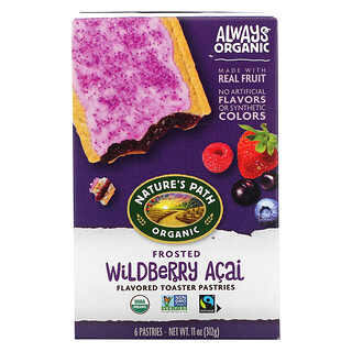 Nature's Path, Organic Toaster Pastries, Frosted Wildberry Acai, 6 Pastries, 52 g Each