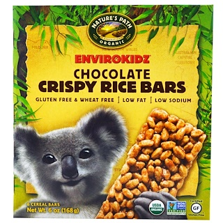 Nature's Path, EnviroKidz, Crispy Rice Bars, Chocolate, 6 Cereal Bars, 1 oz (28 g) Each
