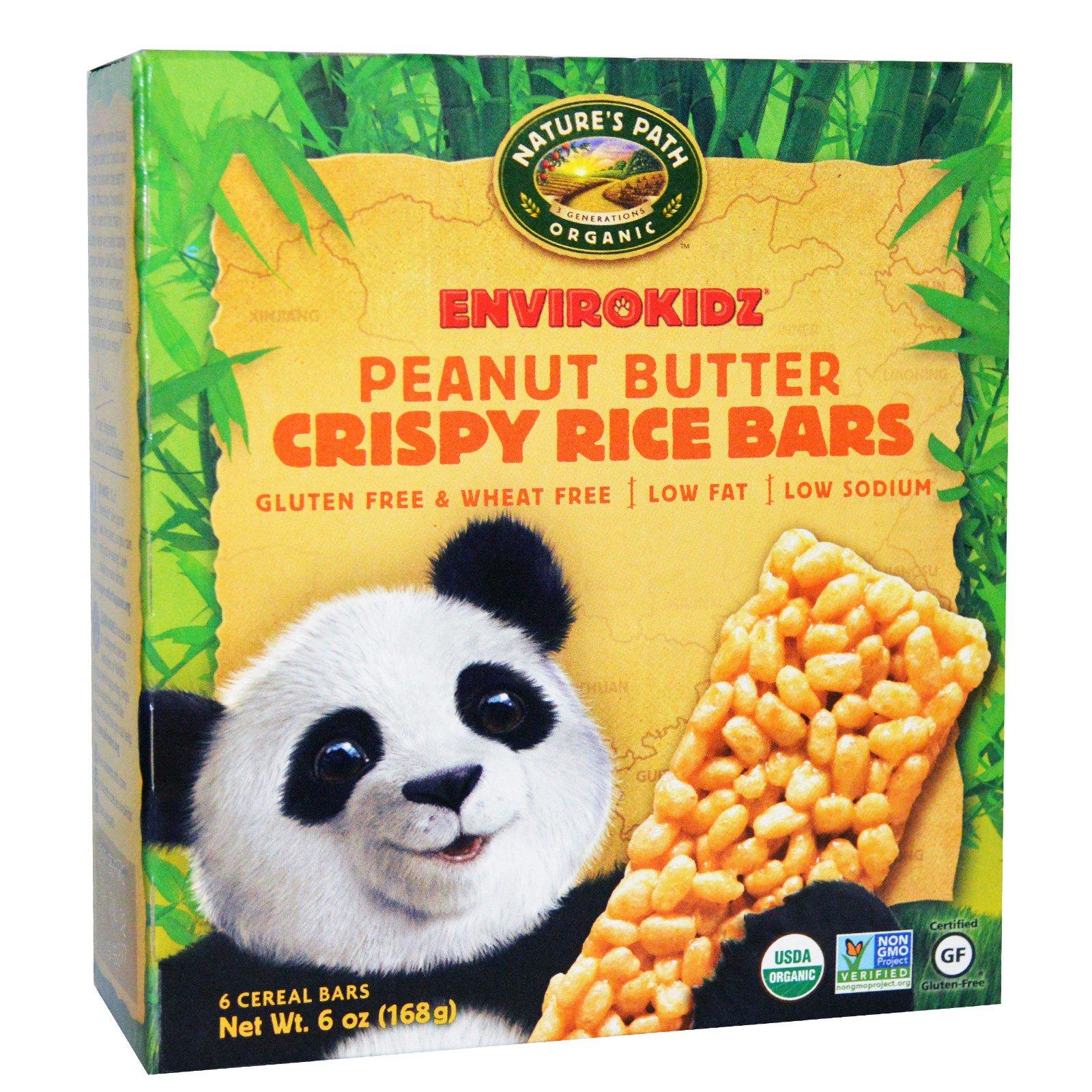 Nature's Path, EnviroKidz,органические хрустящие зерновые батончики, арахисовое масло 6 батончиков, 1 унции (28 г) каждый