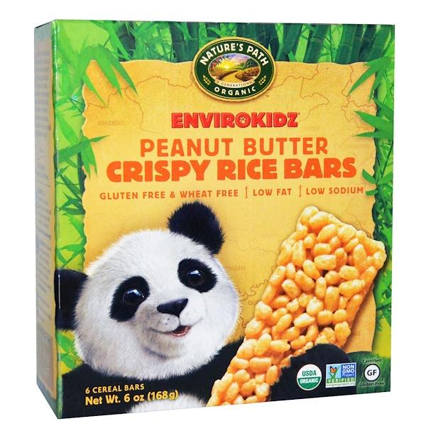 Nature's Path, Organic, EnviroKidz, Crispy Rice Cereal Bars, Peanut Butter, 6 Bars, 1 oz (28 g) Each