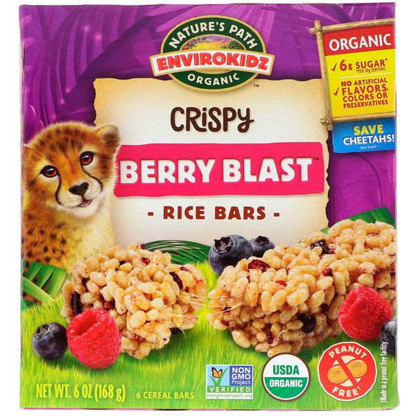 Nature's Path, EnviroKidz, Organic Crispy Rice Cereal Bars, Berry Blast, 6 Bars, 1 oz (28 g) Each (Discontinued Item)