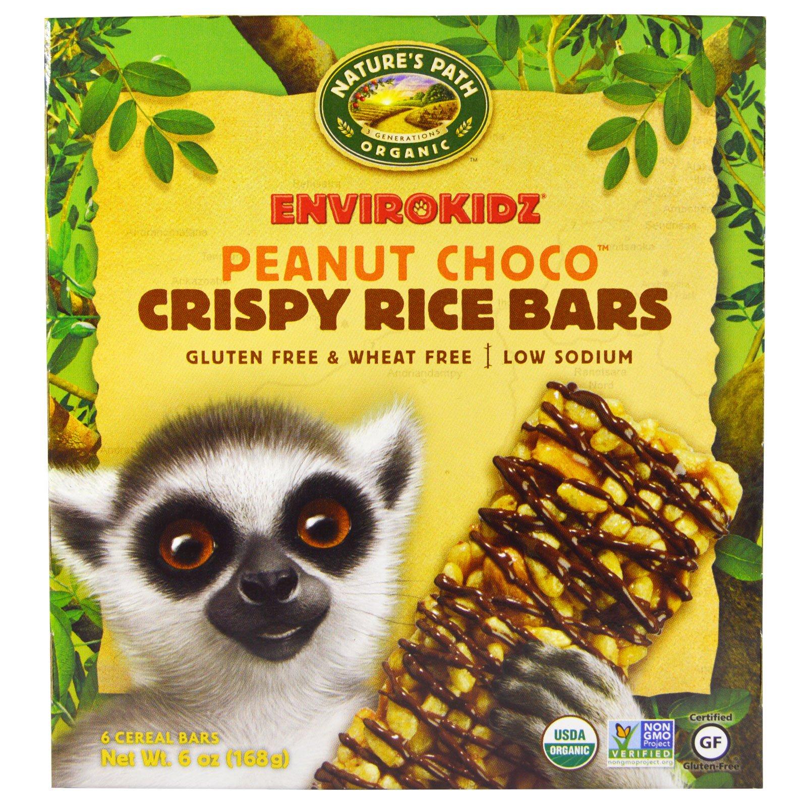Nature's Path, EnviroKidz органические, злаковые батончики с воздушным рисом, арахис и шоколад, 6 батончиков по 1 унции (28 г)
