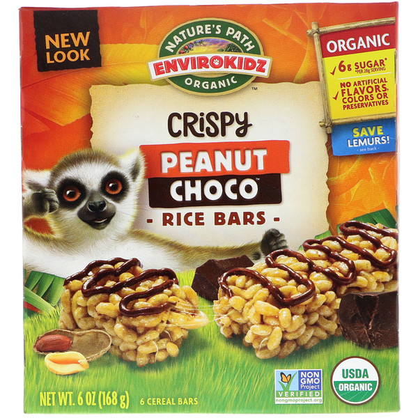 Nature's Path, EnviroKidz Organic, Crispy Rice Cereal Bars, Peanut Choco, 6 Bars, 1 oz (28 g) Each (Discontinued Item)