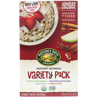 Nature's Path, Organic Instant Oatmeal, Variety Pack, 8 Packets, 50 g Each