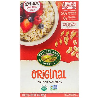 Купить Nature's Path Organic Instant Oatmeal, Original, 8 Packets, 14 oz (400 g)