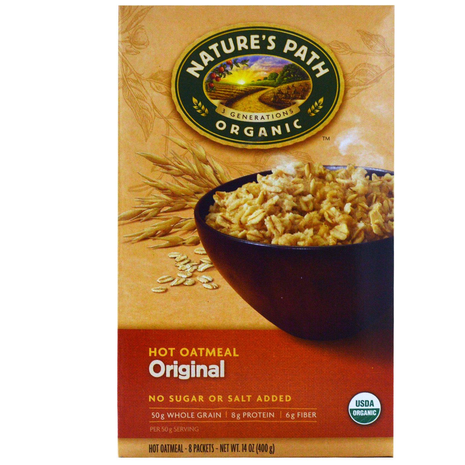 Nature's Path, Традиционная органическая горячая овсяная каша, 8 пакетиков, каждый по 50 г