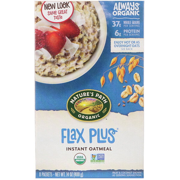 Nature's Path, Organic Instant Oatmeal, Flax Plus, 8 Packets, 14 oz (400 g)