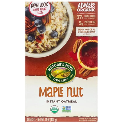 Organic Instant Oatmeal, Maple Nut, 8 Packets, 14 oz (400 g)