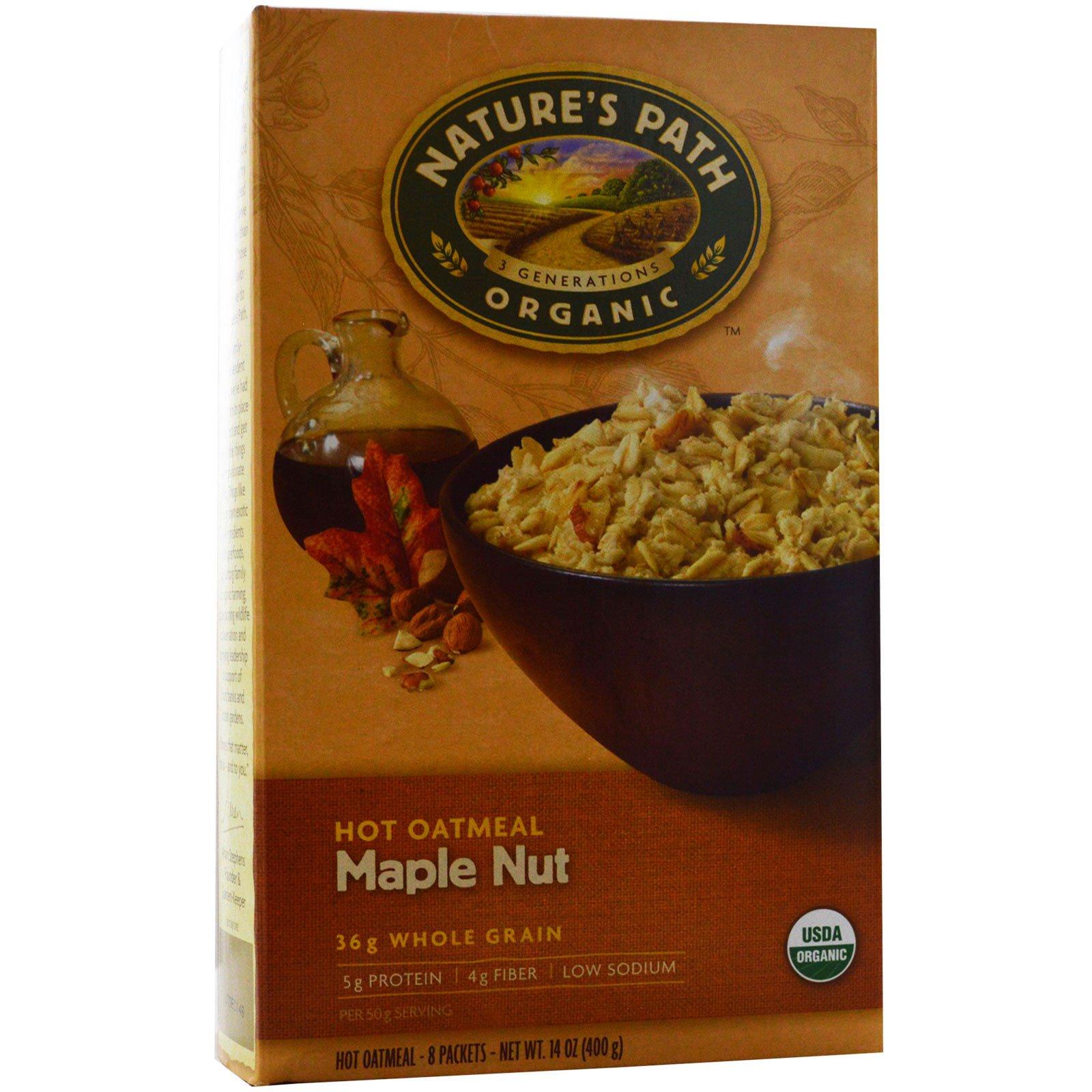 Nature's Path, Органические горячая овсянка, орехи и кленовый сироп, 8 пакетиков, 50 г каждый