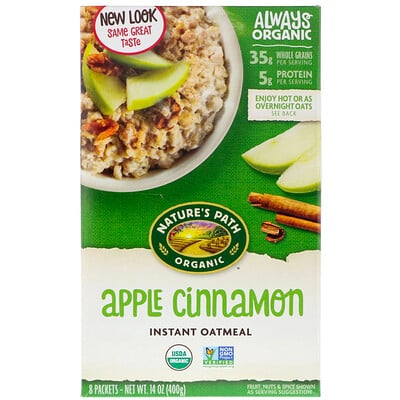 Nature's Path Organic Instant Oatmeal, Apple Cinnamon, 8 Packets, 14 oz (400 g)