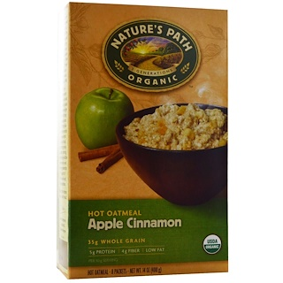 Nature's Path, Organic Hot Oatmeal, Apple Cinnamon, 8 Packets, 50 g Each