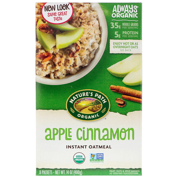 Organic Instant Oatmeal, Apple Cinnamon, 8 Packets, 14 oz (400 g)
