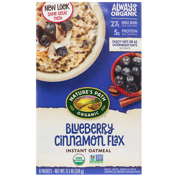Organic Instant Oatmeal, Blueberry Cinnamon Flax, 8 Packets, 11.3 oz (320 g)