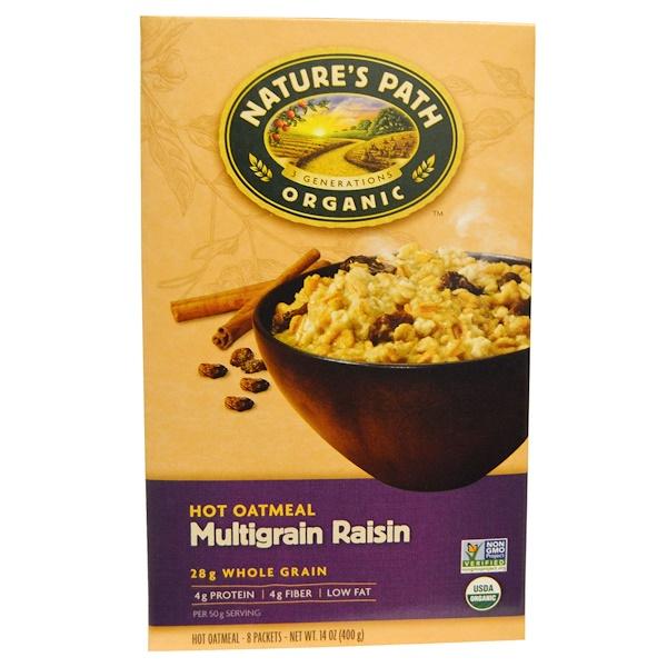 Nature's Path, Organic Hot Oatmeal, Multigrain Raisin, 8 Packets, 14 oz (400 g) (Discontinued Item)
