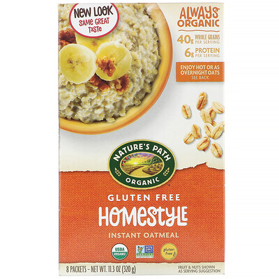 Купить Nature's Path Homestyle, органическая овсяная каша быстрого приготовления, 8 пакетиков, 320 г (11, 3 унции)