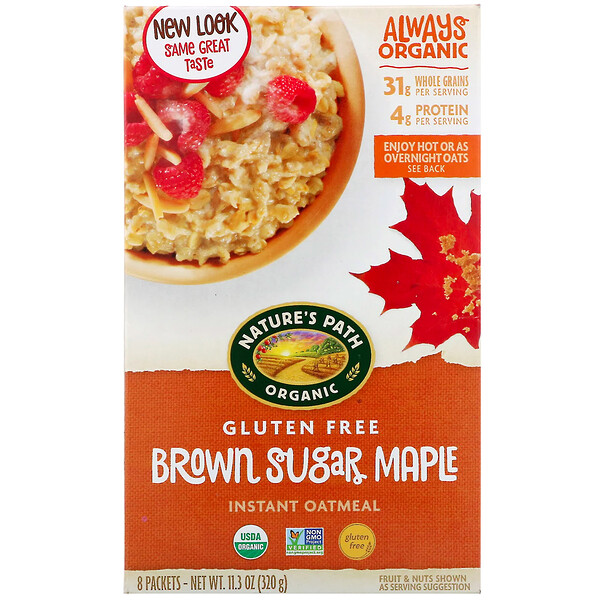 Organic Instant Oatmeal, Brown Sugar Maple, 8 Packets, 11.3 oz (320 g)