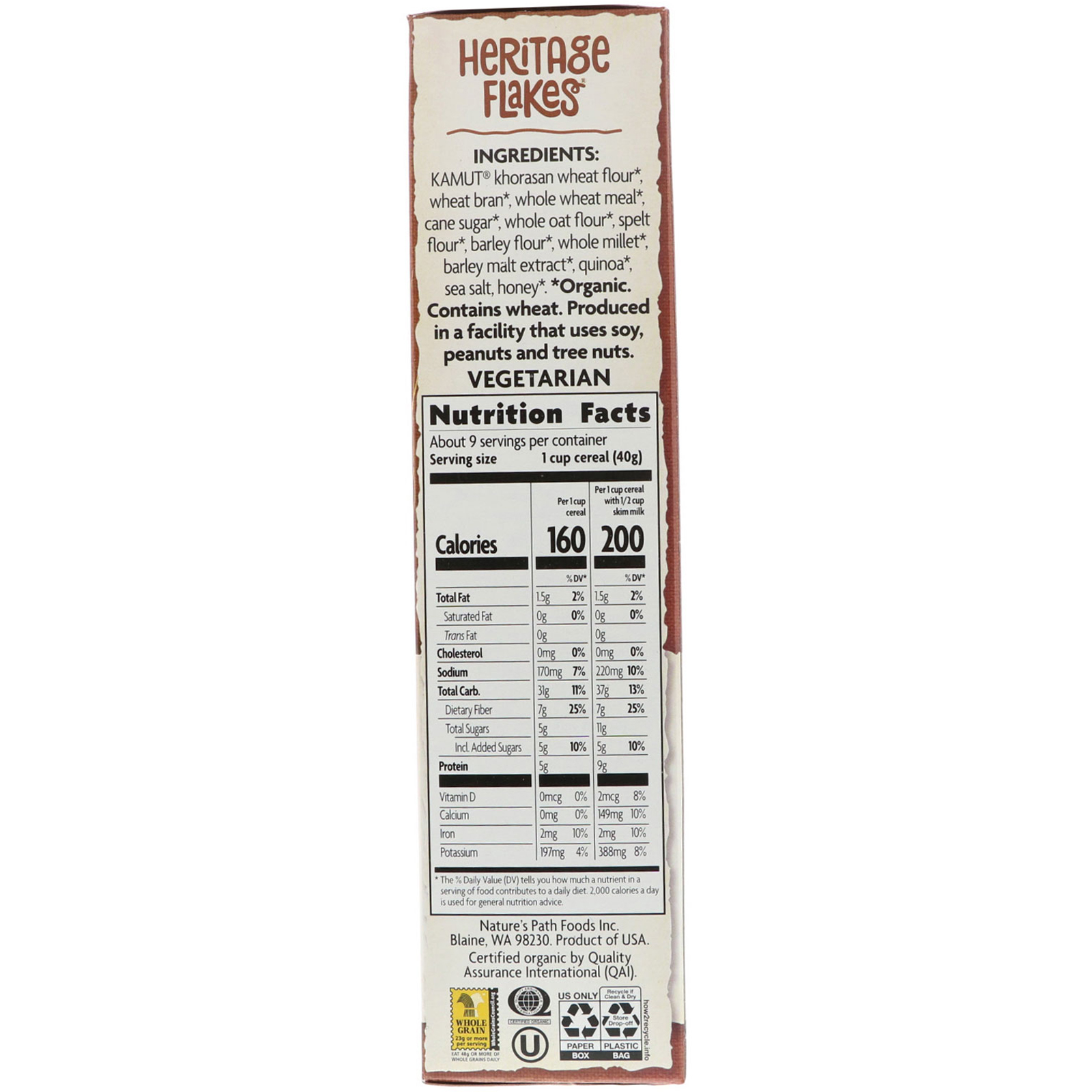 Nature's Path, Organic Heritage Flakes Cereal, 13.25 Oz