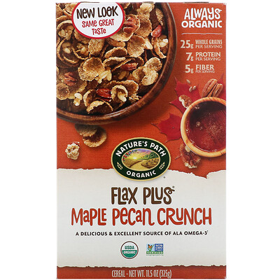 Купить Nature's Path Flax Plus, органические хлопья с кленовым сиропом и орехом пекан, 325 г (11, 5 унции)