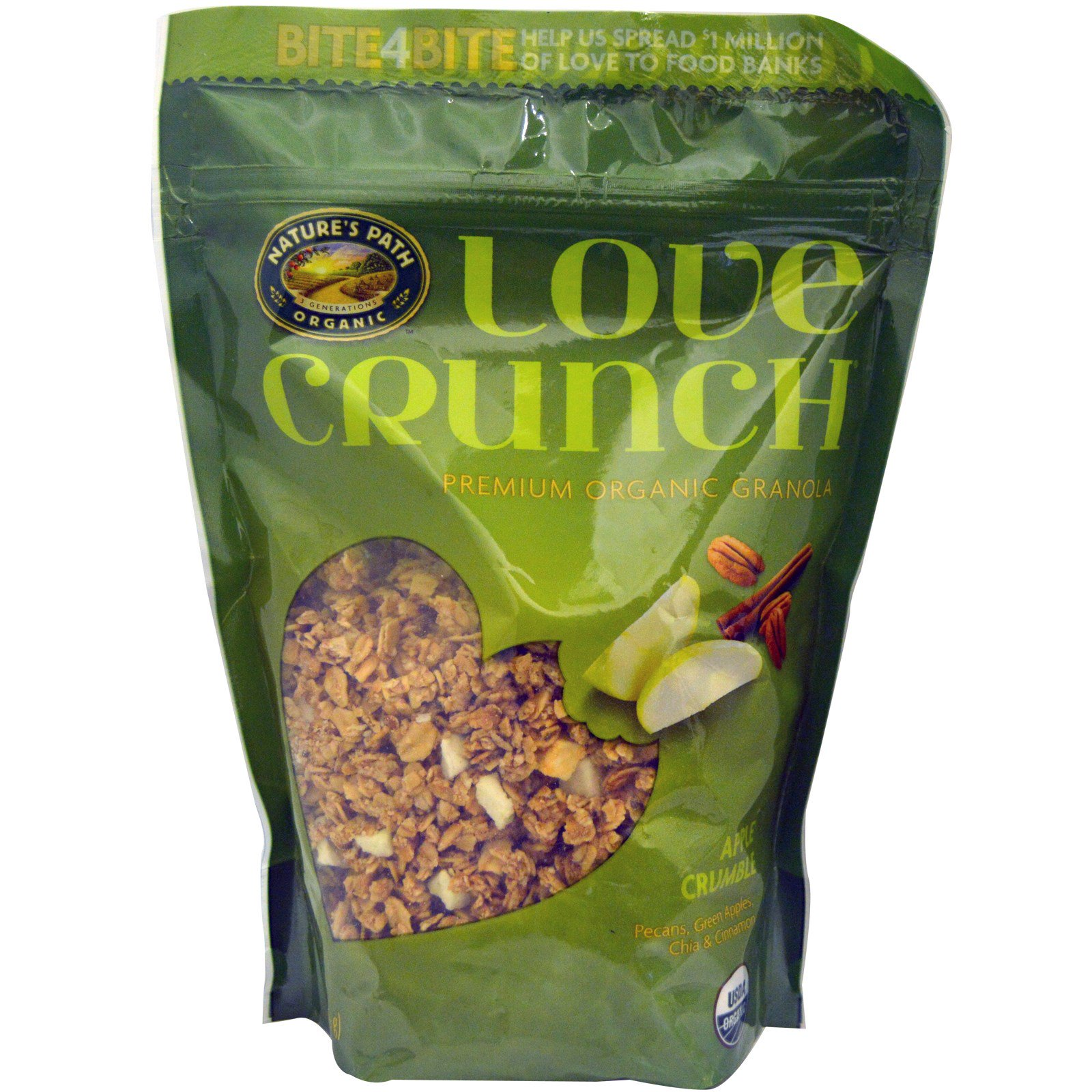 Nature's Path, Love Crunch, Органическая гранола высшего качества со вкусом яблочного пирога (325 г)