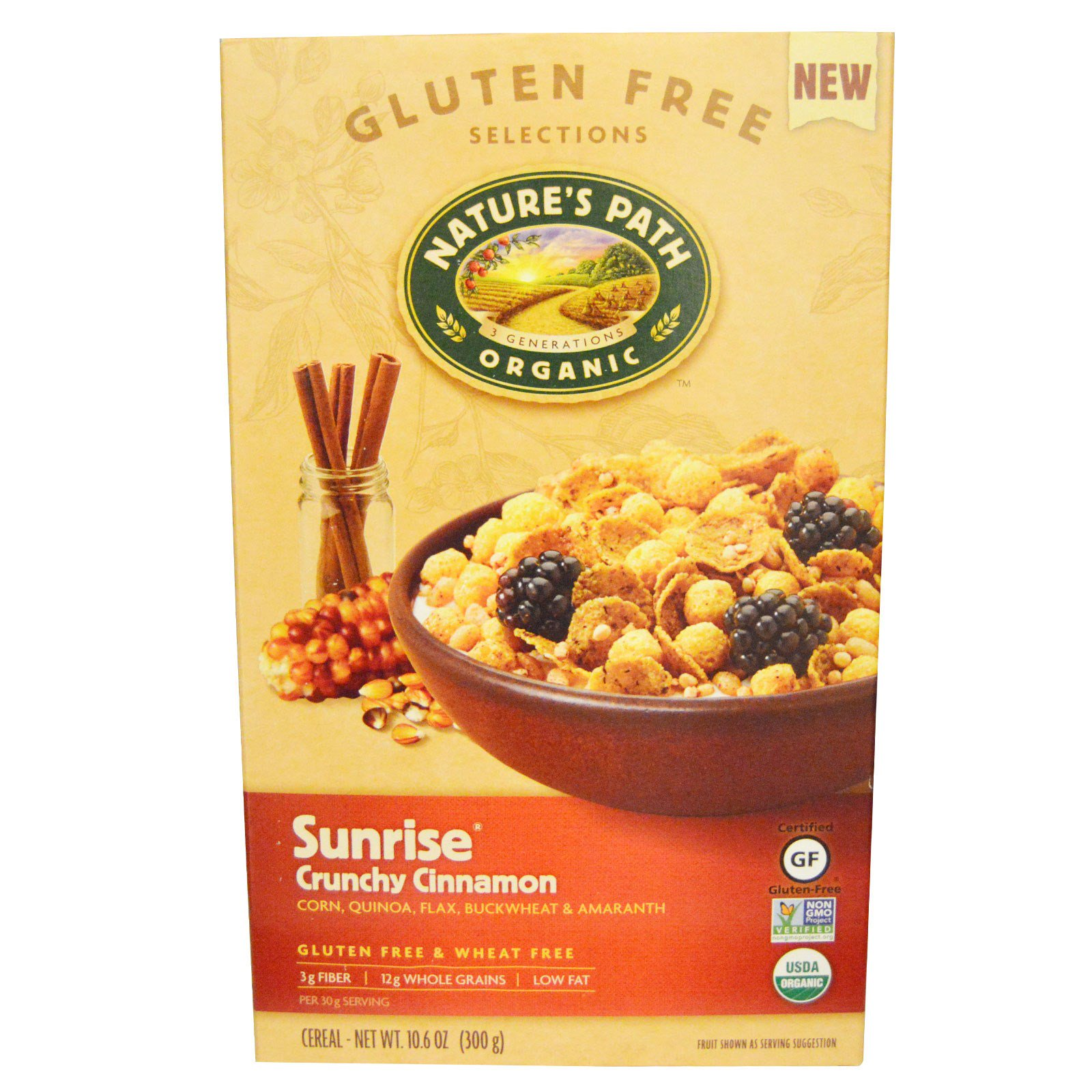 Nature's Path, Organic Sunrise Crunchy Cinnamon Cereal, 10