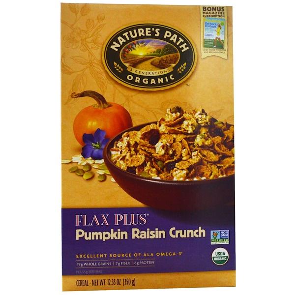Nature's Path, Organic, Flax Plus, Pumpkin Raisin Crunch Cereal, 12.35 oz (350 g)