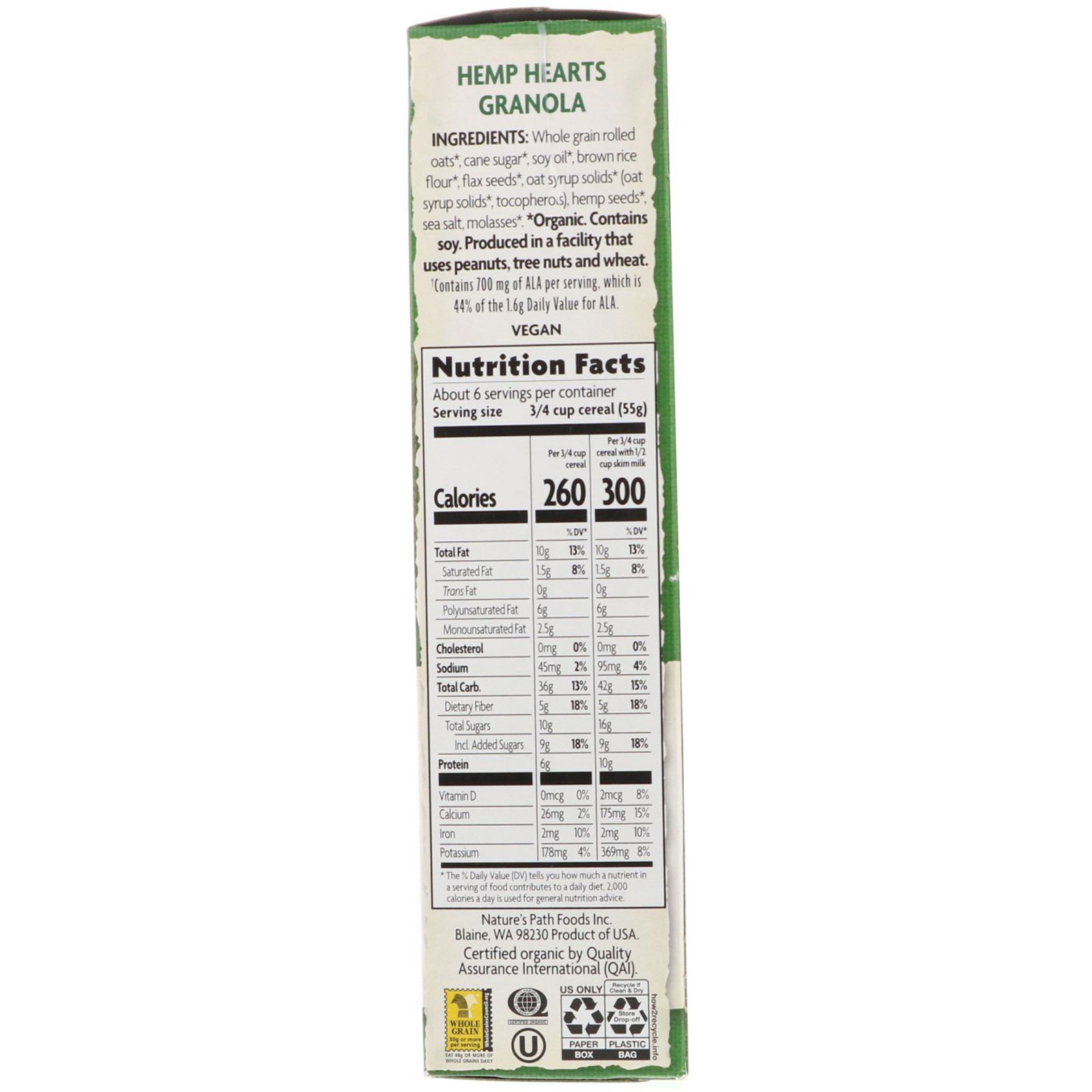Nature S Path Organic Hemp Hearts Granola Cereal 11 5 Oz 325 G Iherb