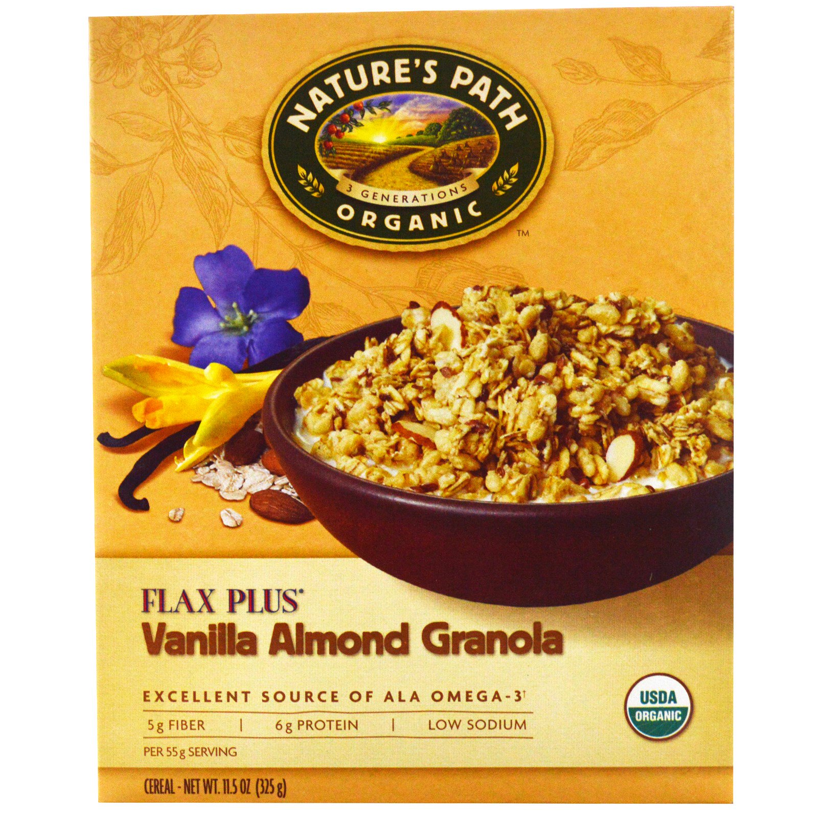 Nature's Path, Organic, Flax Plus, Vanilla Almond Granola