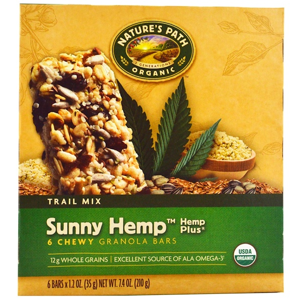 Nature's Path, Organic, Chewy Granola Bars, Sunny Hemp, Trail Mix, 6 Bars, 1.2 oz (35 g) Each (Discontinued Item)