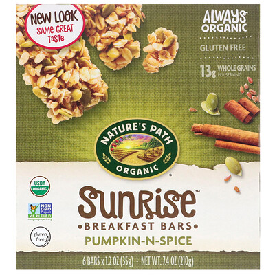 Organic, Sunrise Breakfast Bars, Pumpkin-N-Spice, 6 1.2 oz (35 g) Each