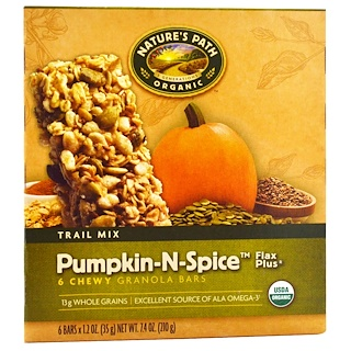 Nature's Path, Organic, Chewy Granola Bars, Flax Plus, Pumpkin-N-Spice, 6 Bars, 1.2 oz (35 g) Each