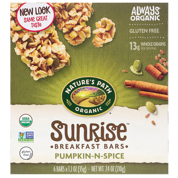Organic, Sunrise Breakfast Bars, Pumpkin-N-Spice, 6 Bars, 1.2 oz (35 g) Each