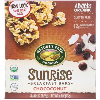 Nature's Path 有機,Sunrise 早餐棒,巧克力椰子味,5 條,每條 1.2 盎司(35 克)