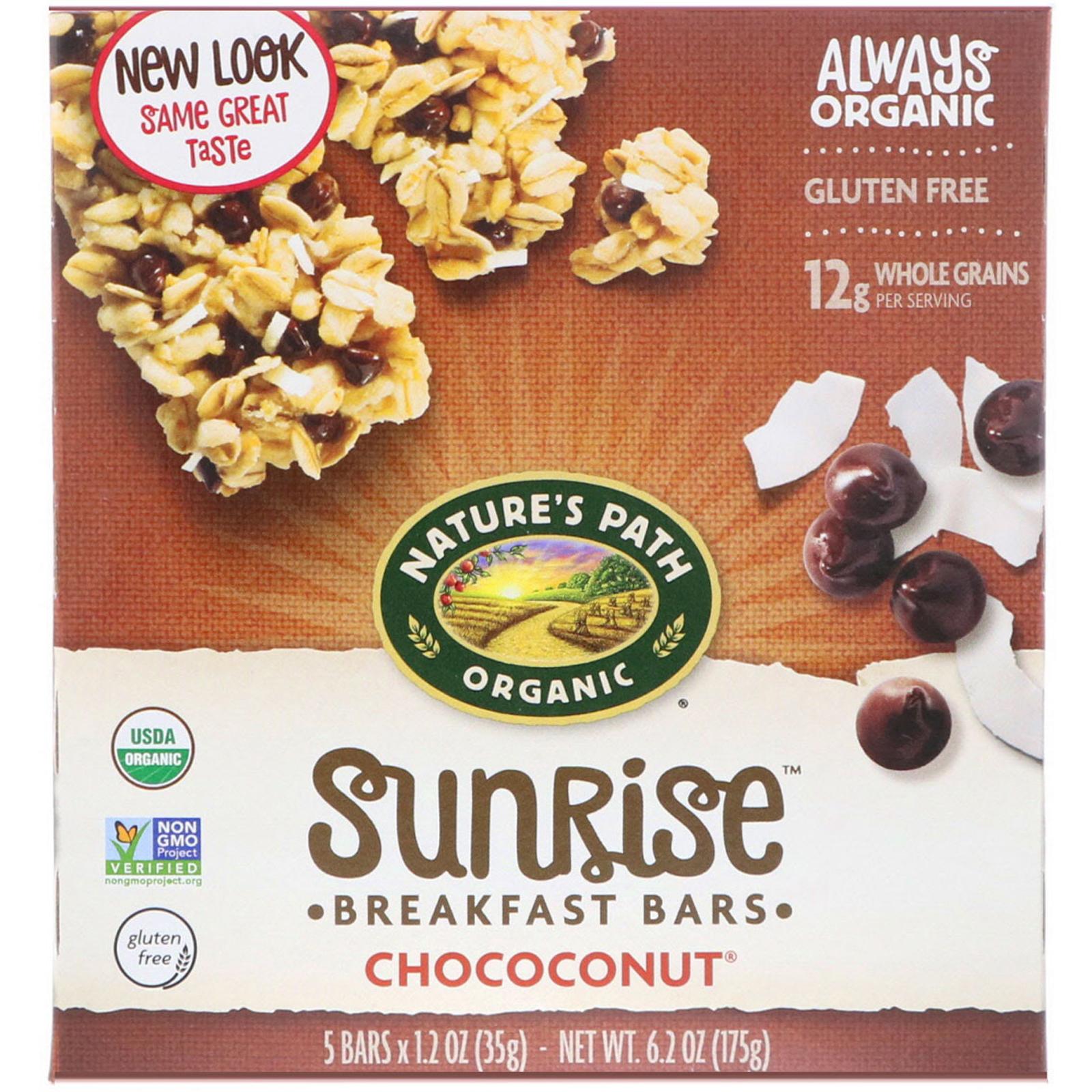 Nature's Path, Organic, Sunrise Breakfast Bars, Chococonut, 5 Bars, 1.2 oz (35 g) Each