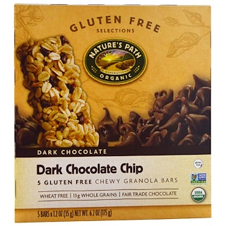 Nature's Path, Chewy Granola Bars, Dark Chocolate Chip, 5 Bars, 1.2 oz (35 g)