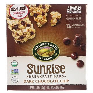 Nature's Path, Organic, Sunrise Breakfast Bars, Dark Chocolate Chip, 5 Bars, 1.2 oz (35 g)