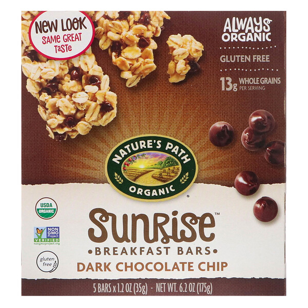 Organic, Sunrise Breakfast Bars, Dark Chocolate Chip, 5 Bars, 1.2 oz (35 g)