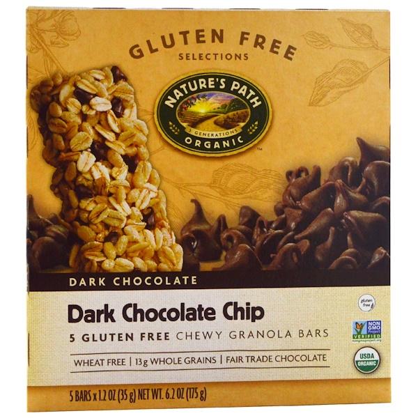 Nature's Path, Chewy Granola Bars, Dark Chocolate Chip, 5 Bars, 1.2 oz (35 g)